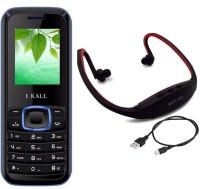 I Kall K19 with MP3/FM Player Neckband(Black & Blue) Black & Blue